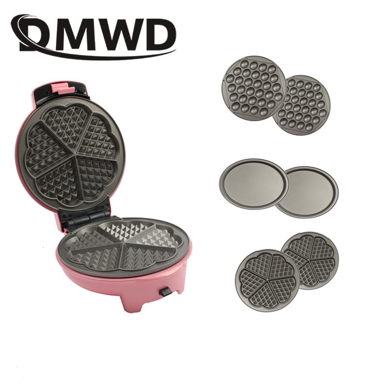 Multifunctional Electric Egg Waffle Maker Doughnut Cake Machine Mini Muffin Bubble Baking Pan Grill Oven 3 Changeable Plates EU