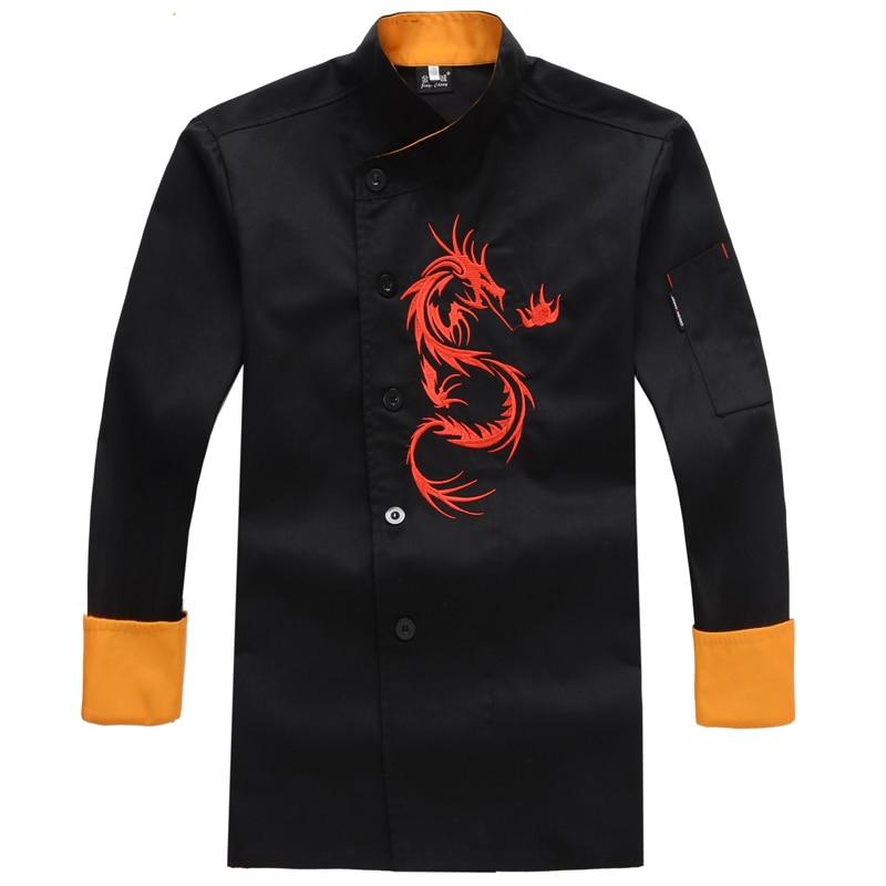 Nowy Strój szefa kuchni Z długim rękawem Zimowy uniform szefa kuchni Haftowany smok Hotel catering Hotelowa restauracja Kuchnia Odzież robocza