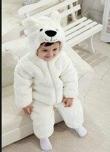 Зима новорожденных девочек мальчиков длинный рукав Белый Медведь ребенка мультфильма комбинезон высокое качество дети с капюшоном теплая одежда детская перемычки 4 шт./лот