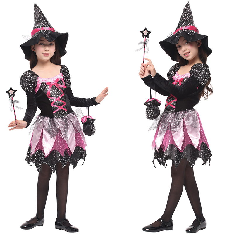 High quality witch playing clothes for children Halloween diamond magic witch dress Christmas party costume cosplay princess dre