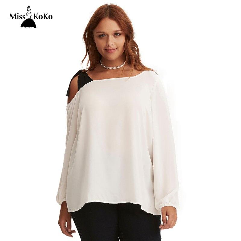 0937c3caeb Misskoko Women Plus Size T-shirt 2018 Large Size Tees Off-shoulder  Patchwork Female
