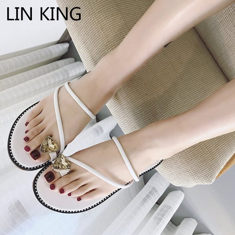 LIN KING Rome Women Flats Slippers Fashion Rhinestone Crystal Slides Comfortable Lady Outdoor Summer Single Shoes Chanclas Mujer lin king luxury rhinestone women flats slippers fashion crystal soft sole summer shoes ladies cool outdoor slides big size 42