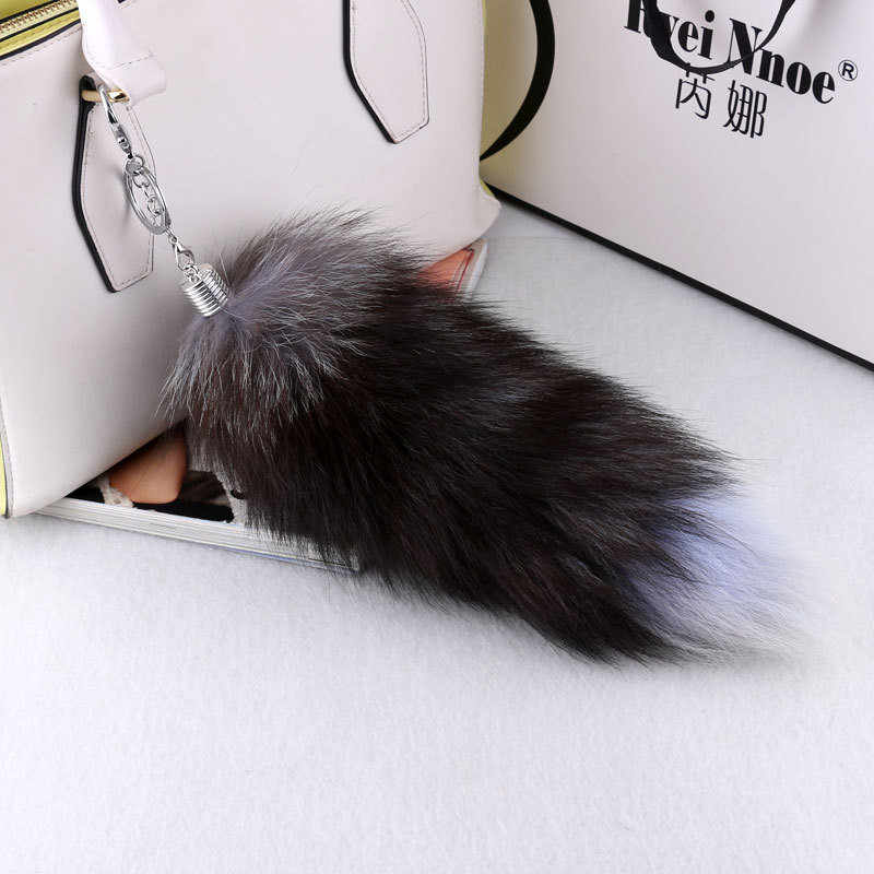 Large Real Fox Tail Fur Tassel Key Chain Bag Tag Strap Car Keychain Pompom Charm Pendant Silver Buckle Phone Keyring Woman Gfit