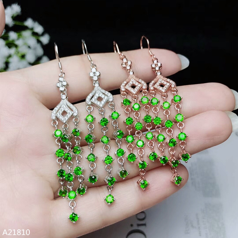 KJJEAXCMY fine jewelry 925 pure silver inlaid natural diopside fire color female Tassel Earrings can be detected.KJJEAXCMY fine jewelry 925 pure silver inlaid natural diopside fire color female Tassel Earrings can be detected.