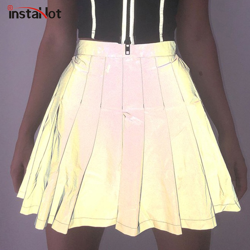 InstaHot Gray Pleated A Line Skirts Women Preppy Style Reflective Light Sparkle Shiny Mini Skirts Girls Zipper High Waist Lovely