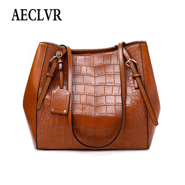 AECLVR Creative Alligator Casual Tote For Women Solid Color Soft Pu Leather Crossbody Bags Lager Capacity Female Shoulder Bag