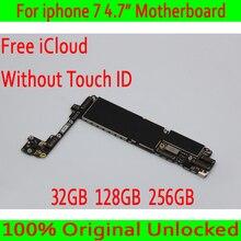 32 ГБ/128 ГБ/256 ГБ для iphone 7 4,7 дюйма материнская плата без сенсорного ID, оригинальная разблокированная для iphone 7 материнская плата с полными чипами