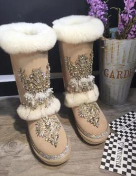 Original European and American Rhinestone Totem Rabbit Wool Genuine Leather Large yard High snow boots Cotton boots