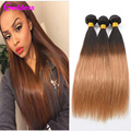 Ombre Hair Extentions Brazilian Virgin Hair Straight 3 Bundles 7A Unprocessed Ombre Human Hair T1B/27 Two Tone Straight Bundles