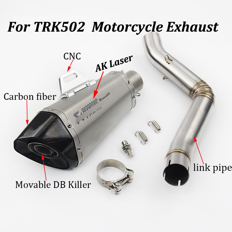 Full System Exhaust Escape Modified Carbon fiber Muffler With Front Link Pipe Slip on For Benelli