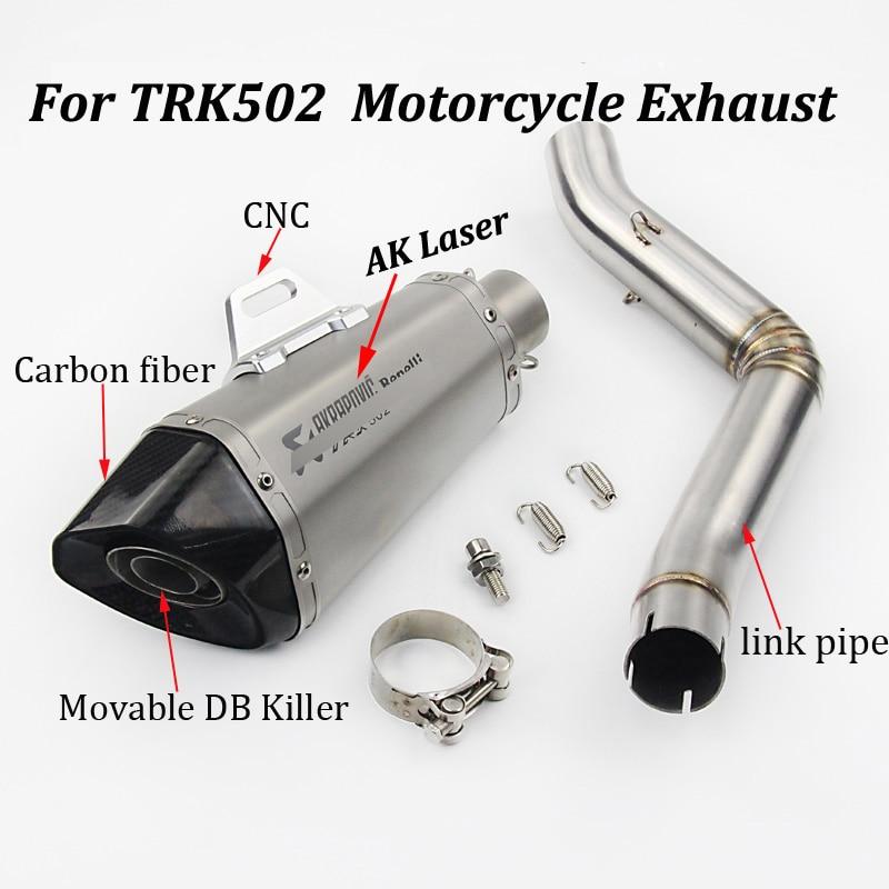 Silencieux d'échappement en fibre de carbone modifié avec échappement sans lacet pour Benelli TRK 502