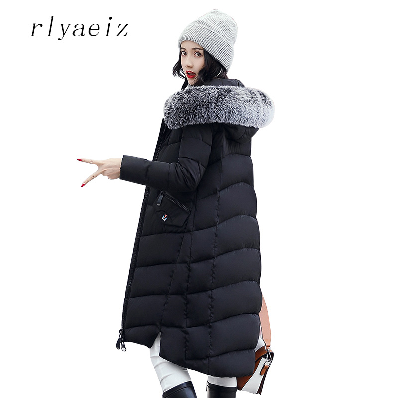 RLYAEIZ Winter Jacket Women 2017 Middle Long Cotton-padded Jackets Big Fur Hooded Collar Parkas Thicken Warm Winter Coat Female new arrival retro good quality poker pattern style quartz necklace pendant chain clock pocket watch collection claudia horloge