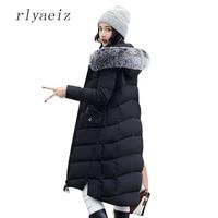 RLYAEIZ Winter Jacket Women 2017 Middle Long Cotton Padded Jackets Big Fur Hooded Collar Parkas Thicken