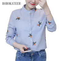 BOBOKATEER Embroidery Long Sleeve Loose Striped Gray O Neck Women Tops Shirts Blouse Blusas Blouses Blusas