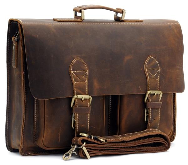 Top Grade Handmade Mens Real Crazy Horse Leather Briefcase Vintage Style Messenger Shoulder 15 inch Laptop