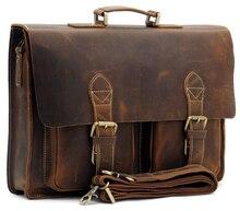 Bestnote Männlich männer Vintage Crazy Horse Leder Aktentasche Messenger Schulter Portfolio Laptop Tasche Handtasche 1061