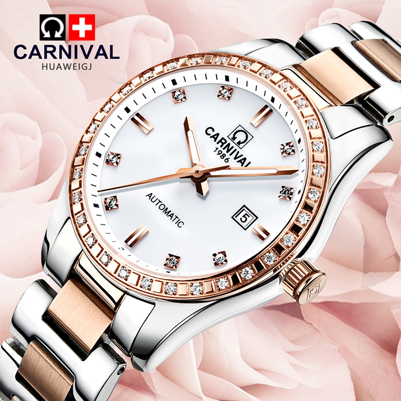 Luxury Carnival Watch women stainless steel Fashion Brands Auto Date Mechanical Waterproof wristwatch relogio feminine цена