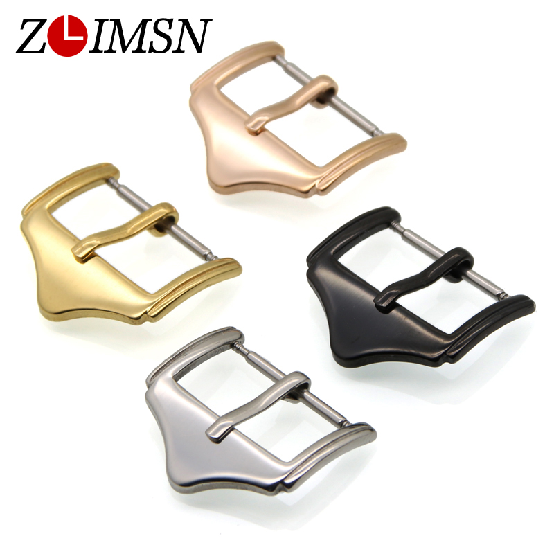 ZLIMSN Steel Buckle Watch Stainless Polished Watchbands Strap Pin Buckle Black Silver Rose Gold Clasp 10 12 14 16 18 20 22mm zlimsn high quality thick genuine leather watchbands 20 22 24 26mm brown watch strap 316l brushed silver stainless steel buckle