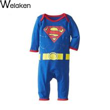 Pure Cotton Superman Batman Style Baby Rompers Brand Children Jumpsuits Long Sleeve Newborn Coverall Toddler Romper