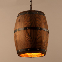 Modern Creative Antique Wood Barrel Pendant Light Retro Handmade Vintage Loft Lights Indoor Decorative Pendant Lamp