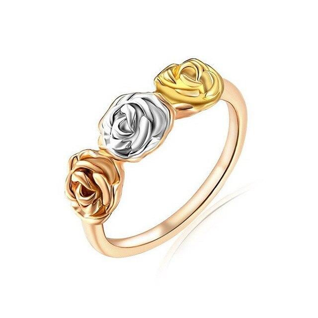 f3f5bbee8a9e Elegante 3D Rose flor Anillos Rosa oro color boda anillo de compromiso  plata de oro que