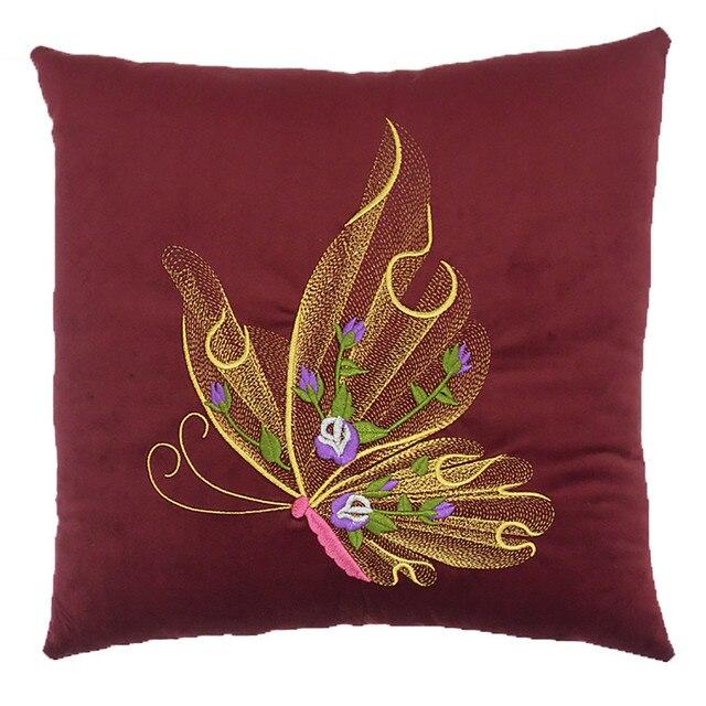 taie d oreiller papillon Rouge 35*35 cm En Peluche De Remplissage + Coton Taie D'oreiller  taie d oreiller papillon