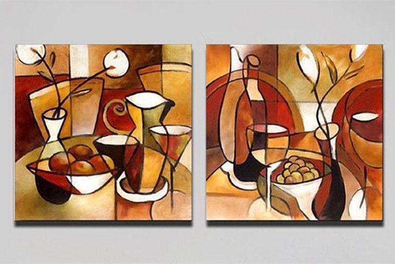 2 Panels Hand Painted Modern Abstract Oil Painting Canvas Flower Cup Pictures Home Decor Wall Art Colorful Paintings For Kitchen
