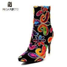 Prova Perfetto Mode Rétro Chaussures Femmes Sexy Bout Pointu Super Haute  Talon Femme Bottes Courtes Broderie 1270c29e5de2