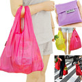 New 10pieces/lot Square Pocket Shopping Bag Candy Available Eco-friendly Reusable Folding Handle Nylon Bag baggu Random Colors