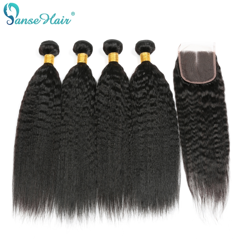 Panse Hair Kinky Straight Indian Hair Weave Bundles With Closure Human Hair 3 Bundles With Closure Non-Remy Coarse Yaki