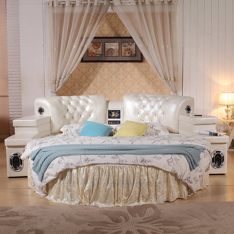 2m Top Grain Leather Round Soft Bed Bedroom Furniture With Speaker #CE-C752