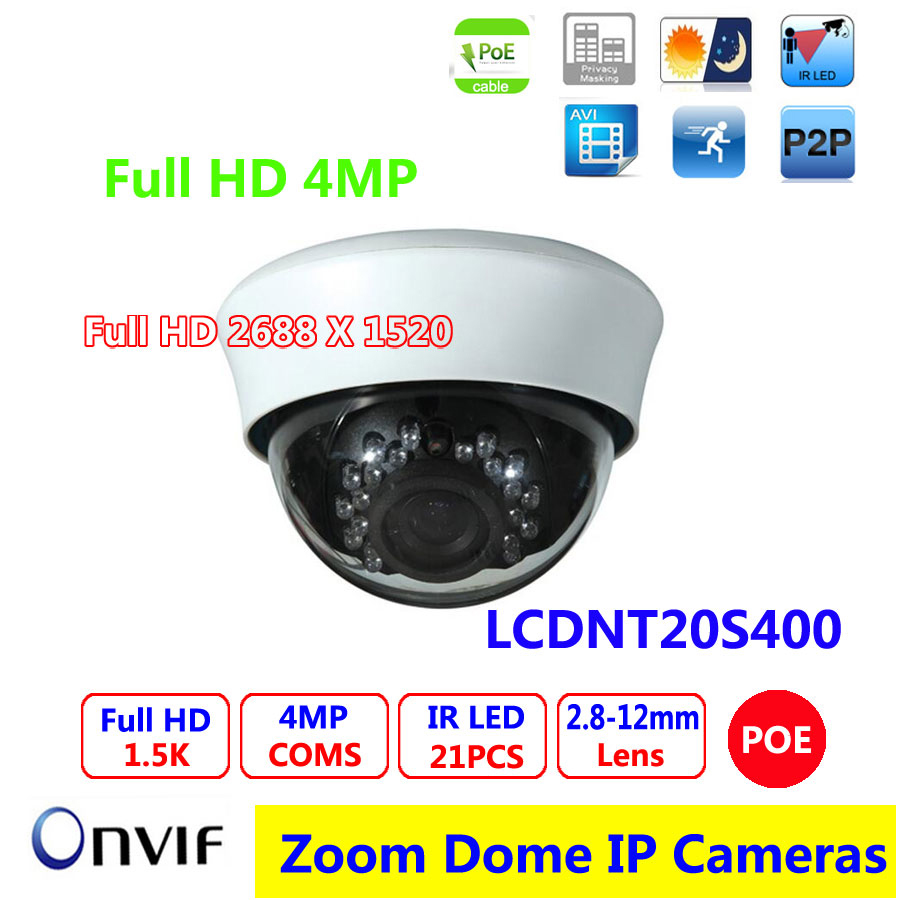 4MP IP Camera with POE 1/3 CMOS Sensor OV4689 2.8-12mm varifocal lens 20m Night vision HD Dome camera tr vipd121 poe 5 0mp 1 3 2 cmos sensor 20m ir view dome camera hd ip poe camera security camera 2592 1944p 30fps 5 mp ip camera