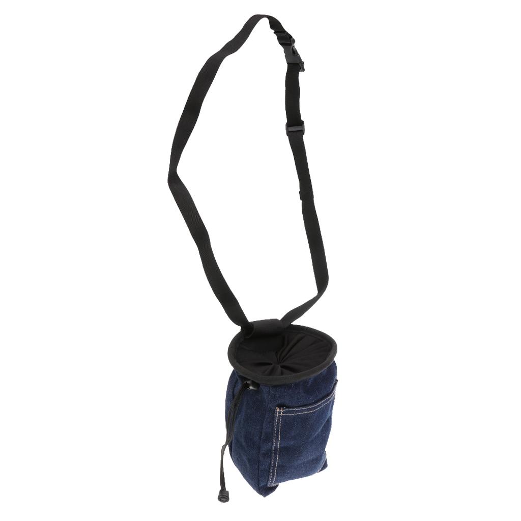 Denim Rock Climbing Chalk Bag With Waist Belt & Drawstring Closure
