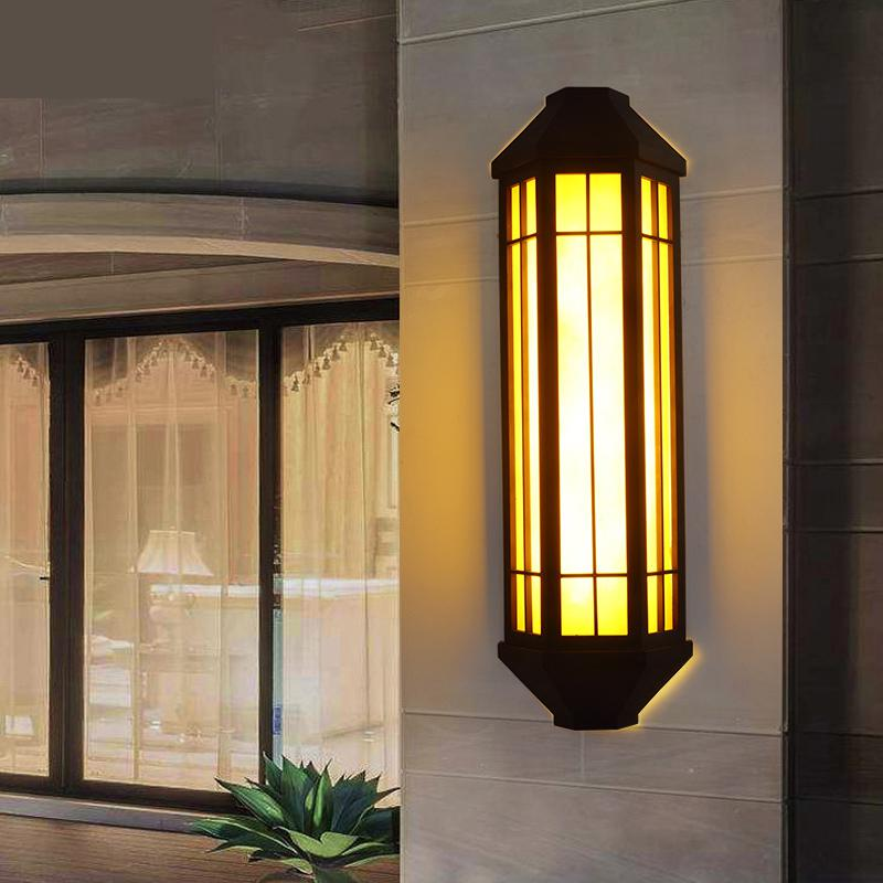Chinese outdoor waterproof imitation marble wall lamp hotel exterior Sconce Wall Lights sales department door post lamp custom