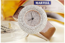 2016 tendência da moda couro relógio das mulheres completa diamante mosaico de quartzo do relógio da correia