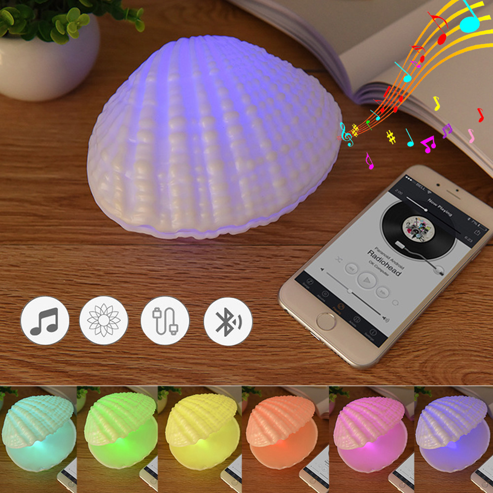 CHICLITS Led Night Light Colorful Bluetooth Audio Lamp Wireless Small Music Shell lamp 7 color gradient Music Speaker Gift yiyang usb rechargeable multicolor shell led music night light bedroom atmosphere desk lamp wireless bluetooth player speaker