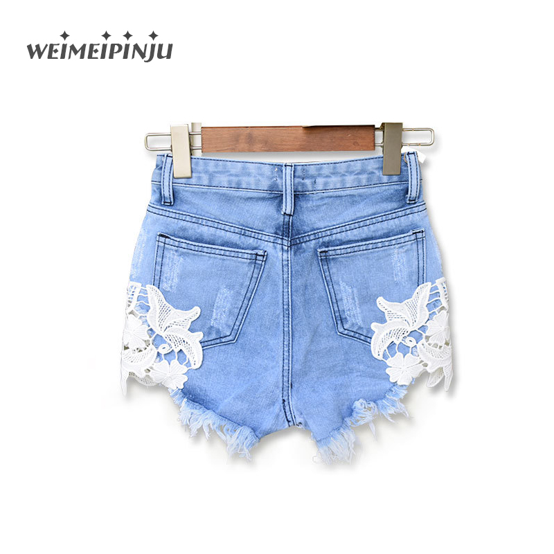 Women's Jeans With Tassels Boyfriend Denim Shorts Pants White Lace Flower Skinny Ripped Jeans For Woman Plus Size Female Clothes
