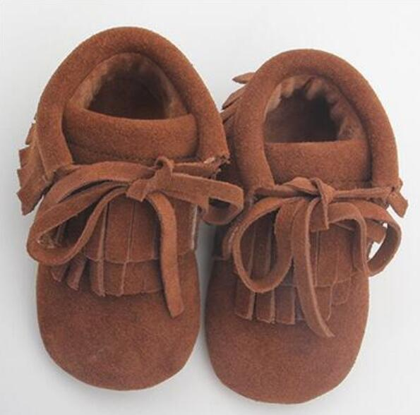 8pairs/lot New Winter baby moccasins genuine leather Hard Rubber sole Baby infant lace-up velvet Tassel Suede baby boots