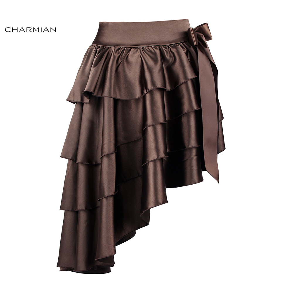 Charmian Women's Victorian Gothic Steampunk Skirt Sexy Party Black Satin Ruffles Vintage High Low Brown Skirt with zipper