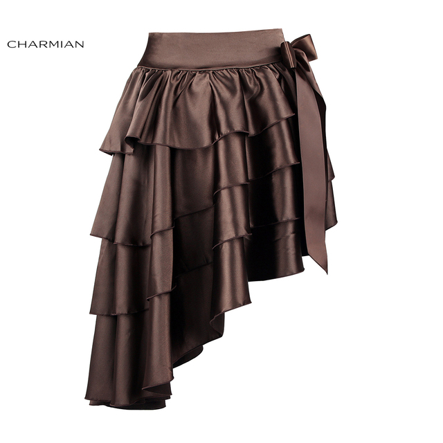 371a9829f74e Charmian Women's Victorian Gothic Steampunk Skirt Sexy Party Black Satin  Ruffles Vintage High Low Brown Skirt with zipper