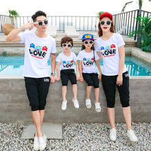 LOVE Family Matching Clothes Mother Daughter Father Son Clothing Sets Mommy and Me Parent-Child Set Mom Baby Outfits ML