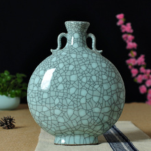 Longquan celadon vase Large Handmade Ceramic antique modern minimalist Decor vase ornaments stippling flat bottle