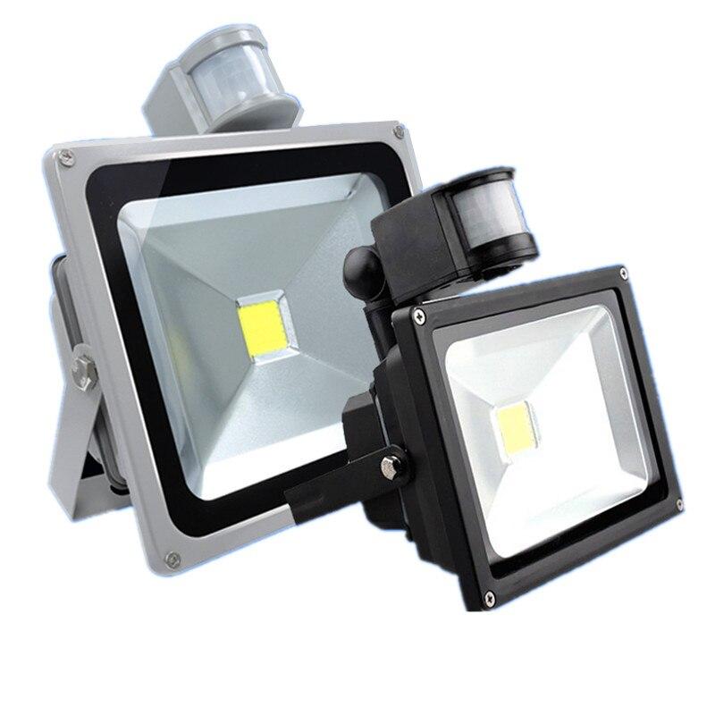 LED Flood Light Motion Sensor 10W/20W/30W/50W Waterproof AC110-260V LED PIR Floodlight Reflector Wall Lamp Outdoor Halogen Light