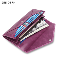 Sendefn New Genuine Leather Lady Purse Vintage Long Wallet Money Bag Purse Phone Cases Women Wallet