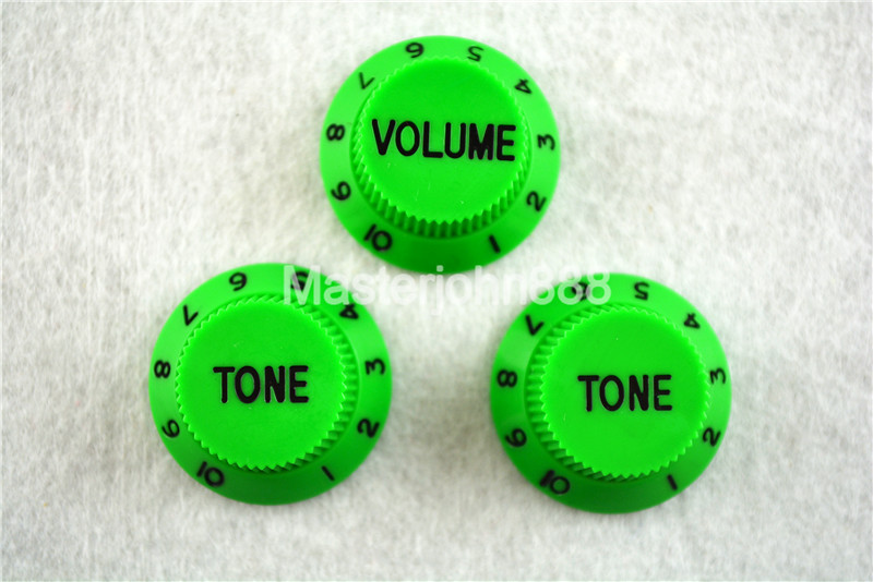 1 Set Of Electric Guitar Control Knobs1 Volume&2 Tone Knobs For ST SQ Electric Guitar Green