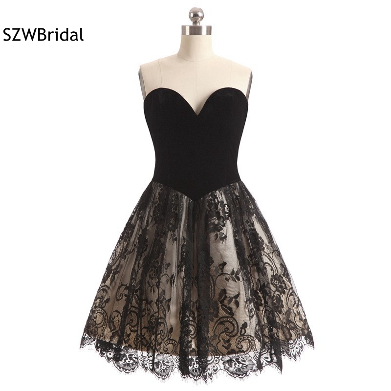 New Arrival In stock Black Cocktail dresses Lace Beaded Vestido de noiva evening party Lace dress