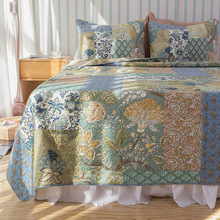 Quality American Style Patchwork Coverlet SET 3PCS Cotton Quilt Printed Quilted Bedspread Bed Cover Sheets Shams King Size