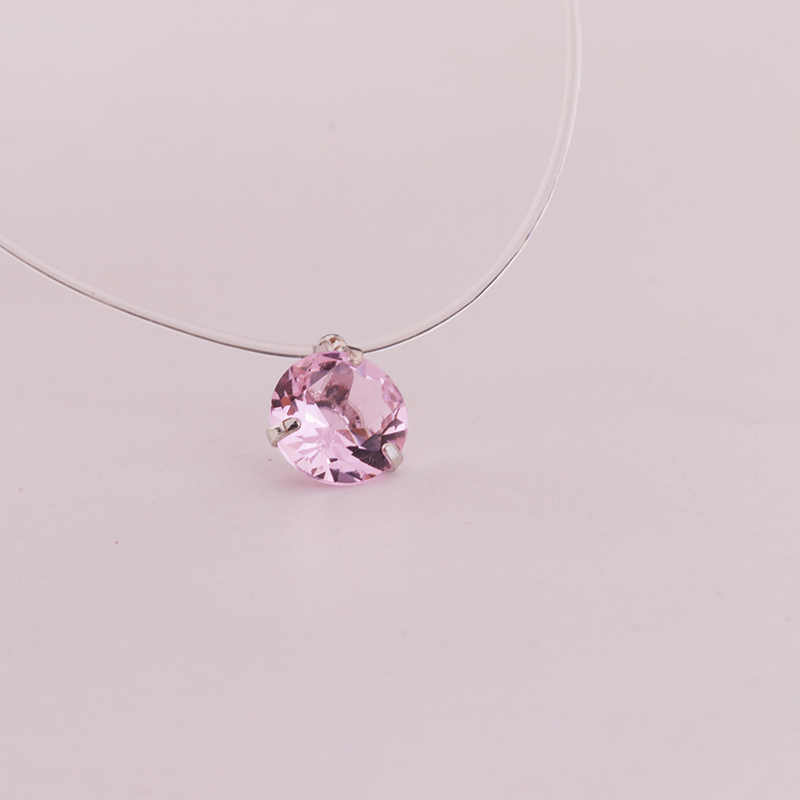 New 1 mảnh 3 móng vuốt CZ Collar Necklace Choker Vô Hình Trong Suốt Dây Câu Crystal Bạc Mặt Dây Chuyền Vòng Cổ cho Phụ Nữ