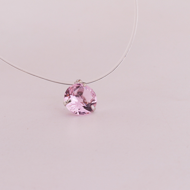 New 1piece 3claws CZ Collar Choker Necklace Invisible Transparent Fishing Line Crystal Silver Pendant Necklace for Women