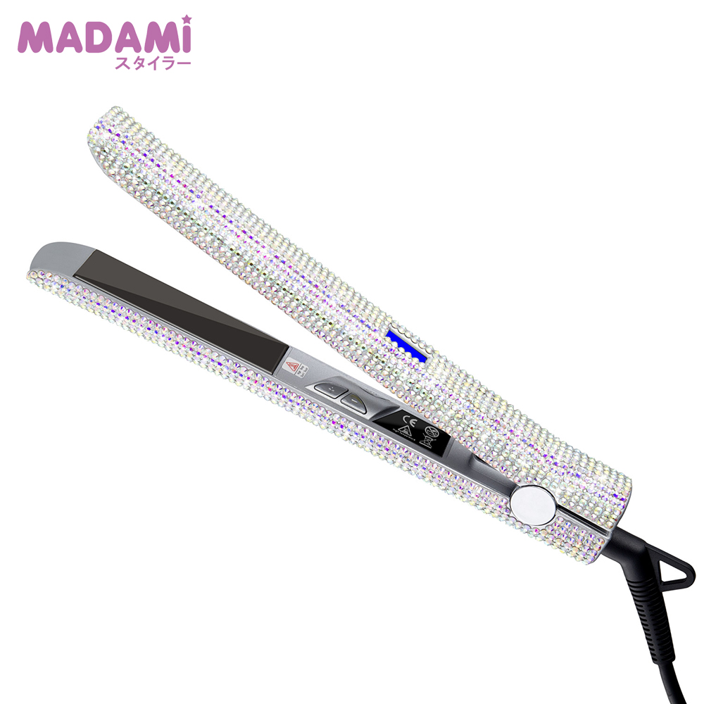 MADAMI Hair Straightener Flat Iron Hand Made Crystal Diamond With LCD Digital Display MCH Sparkling Rhinestones Titanium Plate White (6)